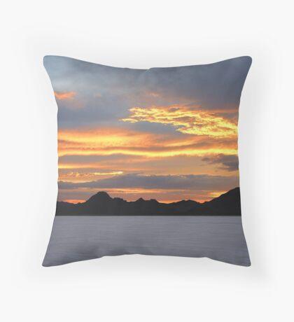 Sunset At Bonneville Salt Flats Throw Pillow
