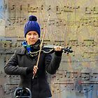 Busking with violin by indiafrank