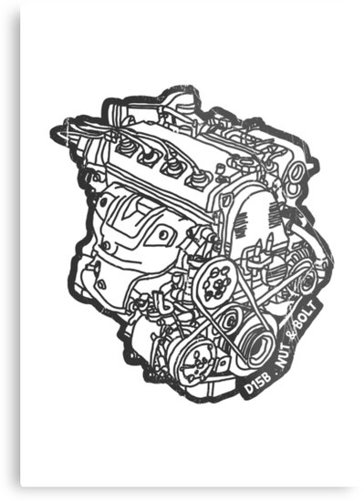 Honda Civic Vti Crx D15b Engine Metal Prints By Nut And Bolt Design