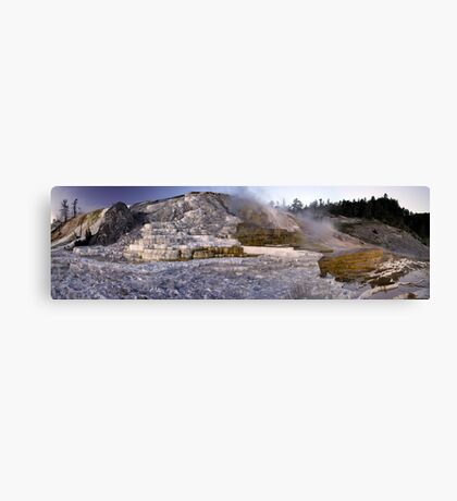 Palette Spring, Mammoth Hot Springs - Panorama Canvas Print