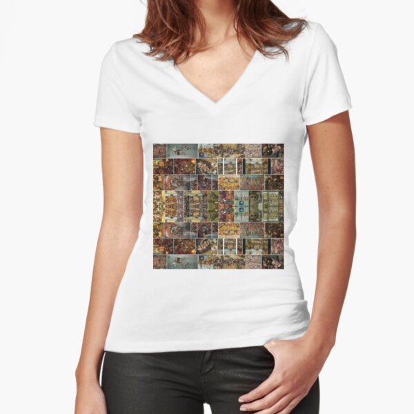 #Hieronymus, #Bosch, #HieronymusBosch, #Paintings, Fantastic Landscapes, Heavenly Powers, Fitted V-Neck T-Shirt