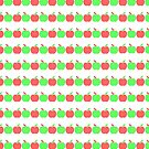Retro Red and Green Apple Print by Asoka Void