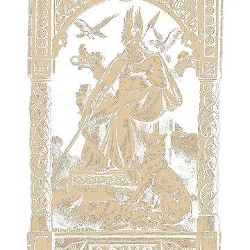 Odin T-Shirt Fenrir Huginn Muninn Gungnir Norse Mythology by bledi