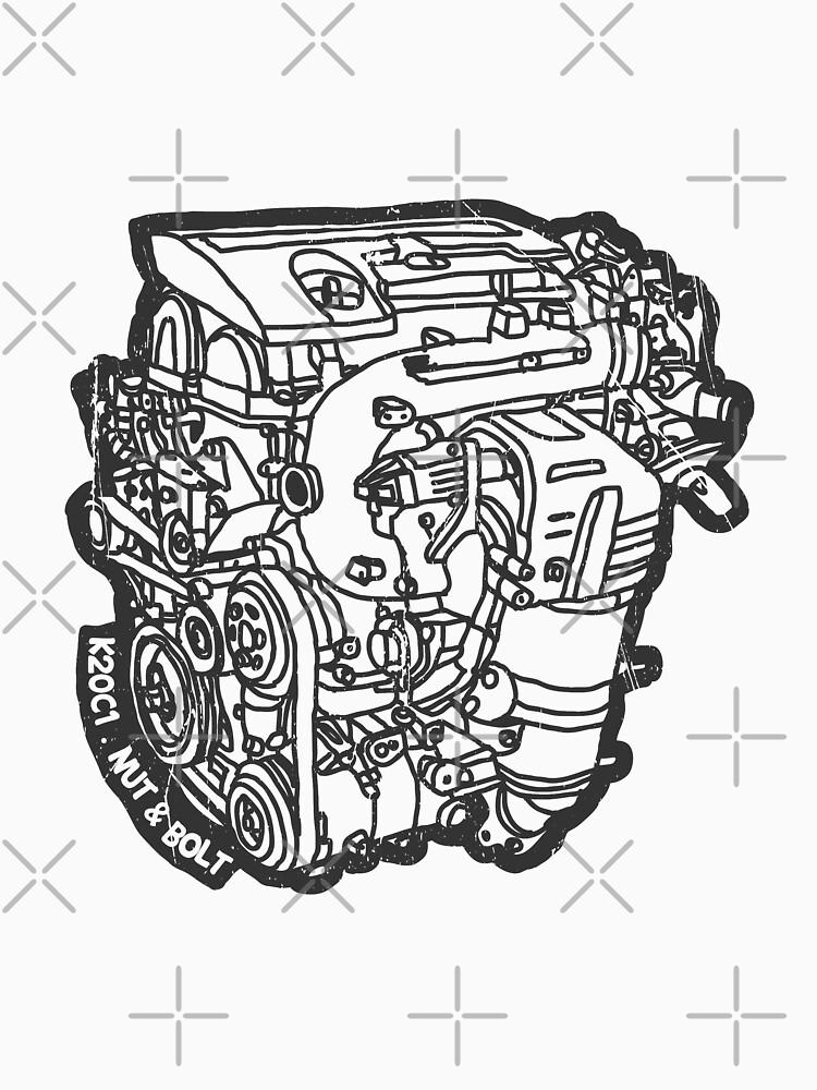 Honda Civic Type R Fk2 K20c1 Engine T Shirt By Nutandbolt