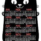 2019 Year Monthly Calendar Mid-Century Black Cat by emkayhess