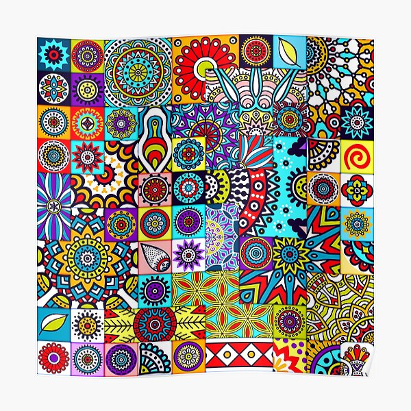 African Print Patchwork Ethnic Geometric Floral Design Colorful Patterns Poster
