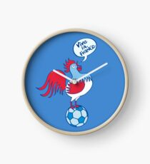 French rooster standing on a soccer ball Clock