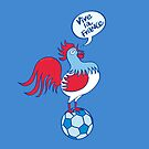 French rooster standing on a soccer ball by Zoo-co