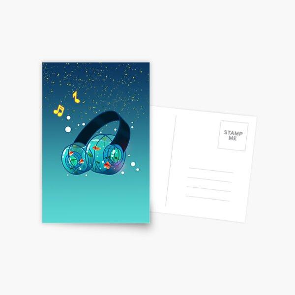 Goldfish Headphones Postcard