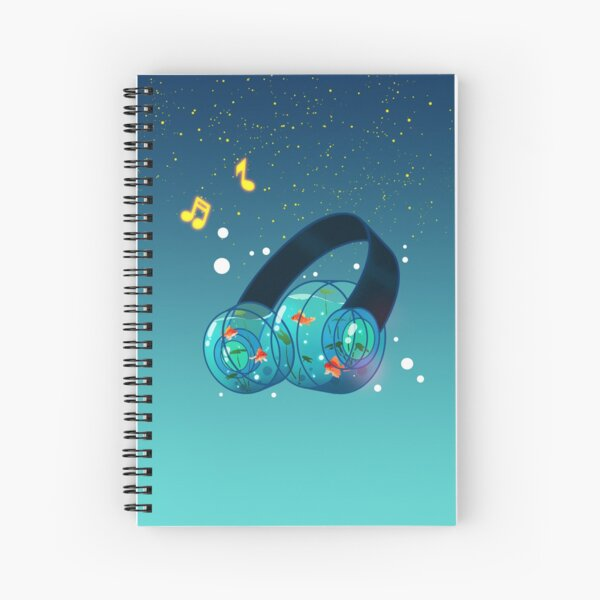 Goldfish Headphones Spiral Notebook
