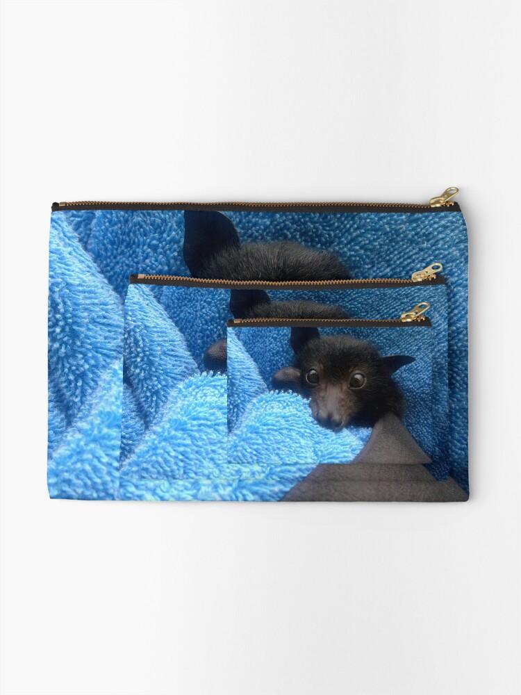 Alternate view of Baby Bat Cruz In Blue. Zipper Pouch