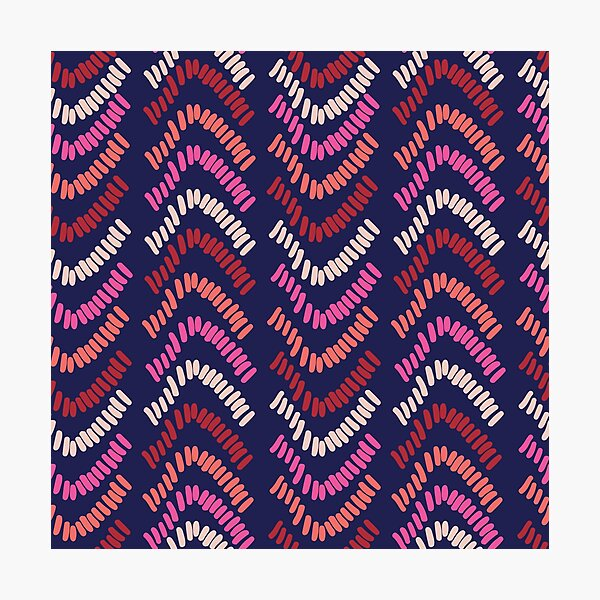 Textured stripe pattern on a navy base Photographic Print