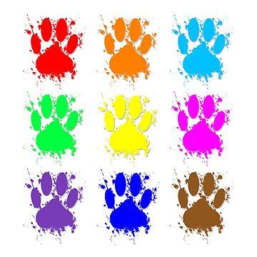 Ink Splatter Dog Paw Pattern by Almdrs