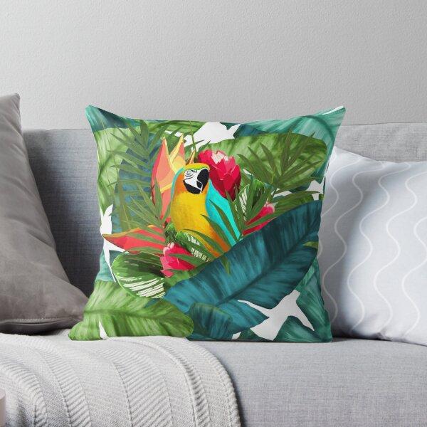Fresh Parrot Tropical Banana Leaves Bouquet Throw Pillow