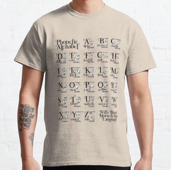 Alfabeto fonético con lenguaje morse y de signos binario Camiseta clásica