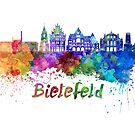 Bielefeld skyline in watercolor background by paulrommer