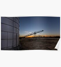 Manure stacking a sunset Poster