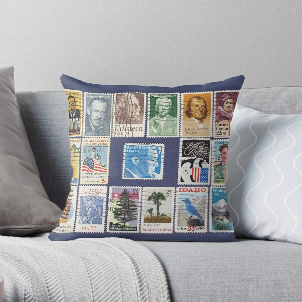 Set Of Usa Postage Stamps Background Floor Pillow By Iaroslavb Redbubble