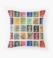 British postage stamps with a Queen Elizabeth profile. Throw Pillow