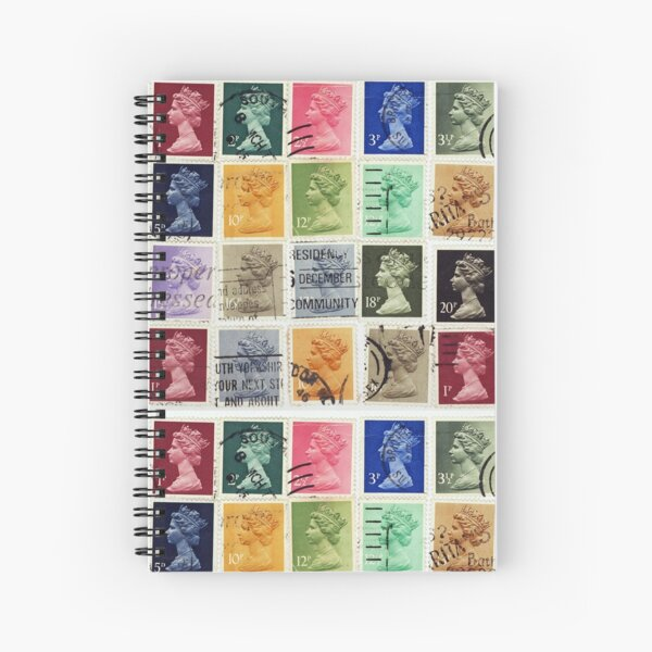 British postage stamps with a Queen Elizabeth profile. Spiral Notebook