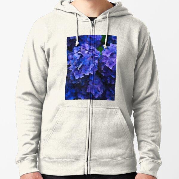 Purple Hydrangea Flowers Zipped Hoodie