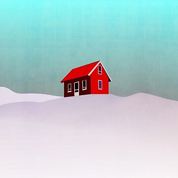 red house in snow landscape illustration by ohaniki