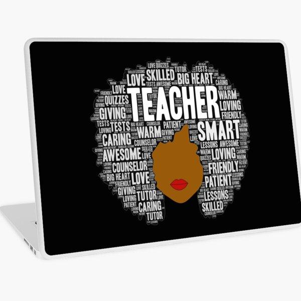 African American Teacher Afro Typography Word Art Laptop Skin