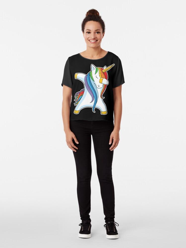 Alternate view of Dabbing Unicorn Shirt Cute Funny Unicorns T shirt Gifts for Kids Girls Boys Women Men Chiffon Top