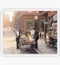 Clam seller on Mulberry Bend, New York, ca 1900 Transparent Sticker
