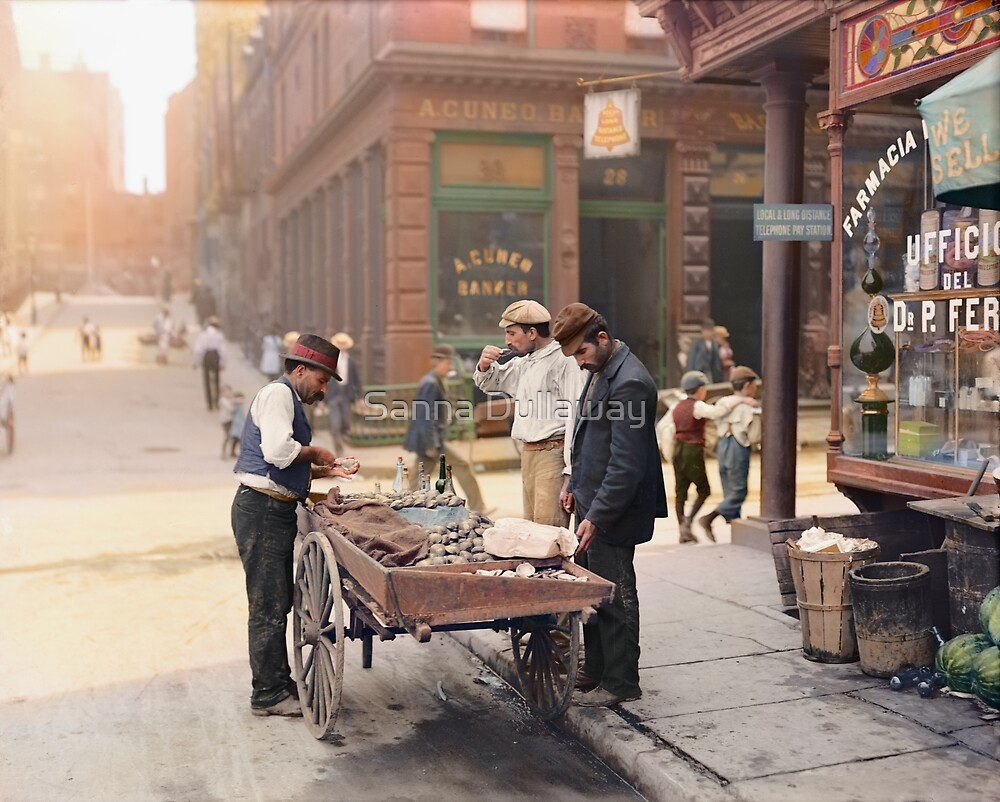 Clam seller on Mulberry Bend, New York, ca 1900 by Sanna Dullaway