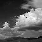 Cloudscape over the Sandia Mountains, in Monochrome by Mitchell Tillison