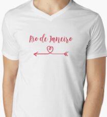 Rio de Janeiro Love Heart Handwriting Style Men's V-Neck T-Shirt