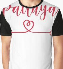 Pattaya Love Heart Handwriting Style Graphic T-Shirt