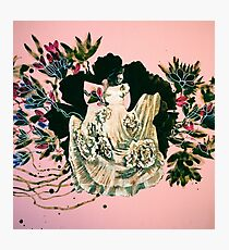 woman and prehistorical plant Photographic Print