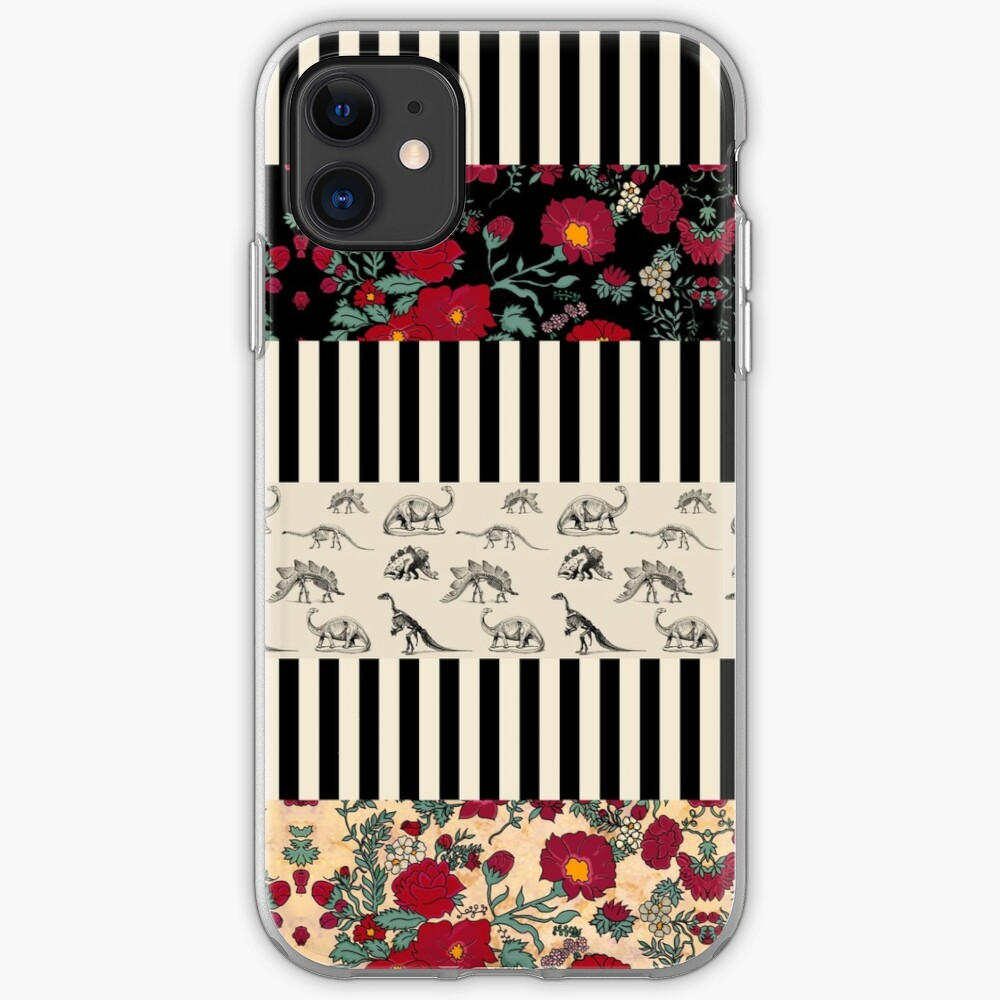 Stripes and Roses and Dinos iPhone Soft Case