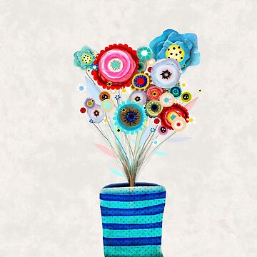 Floral Vase Rupy de Tequila Art by rupydetequila