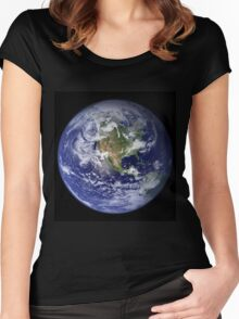the earth seen from space Women's Fitted Scoop T-Shirt