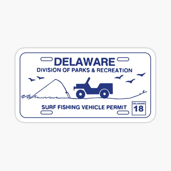 Delaware Surf Fishing Vehicle Permit (Blue & White) Sticker