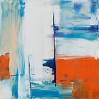 Red, white, and blue abstract painting by Steve Johnson