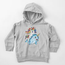 Unicorn Riding Narwhal T shirt Squad Girls Kids Rainbow Unicorns Gifts Party Toddler Pullover Hoodie