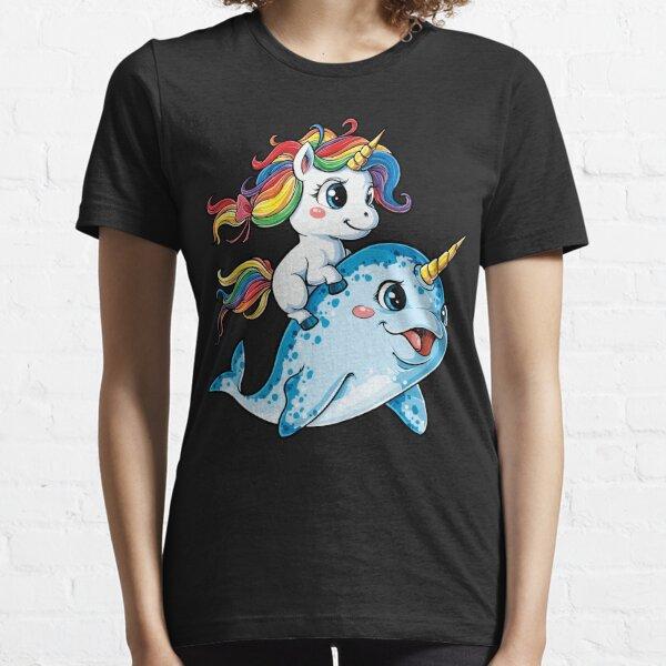 Unicorn Riding Narwhal T shirt Squad Girls Kids Rainbow Unicorns Gifts Party Essential T-Shirt