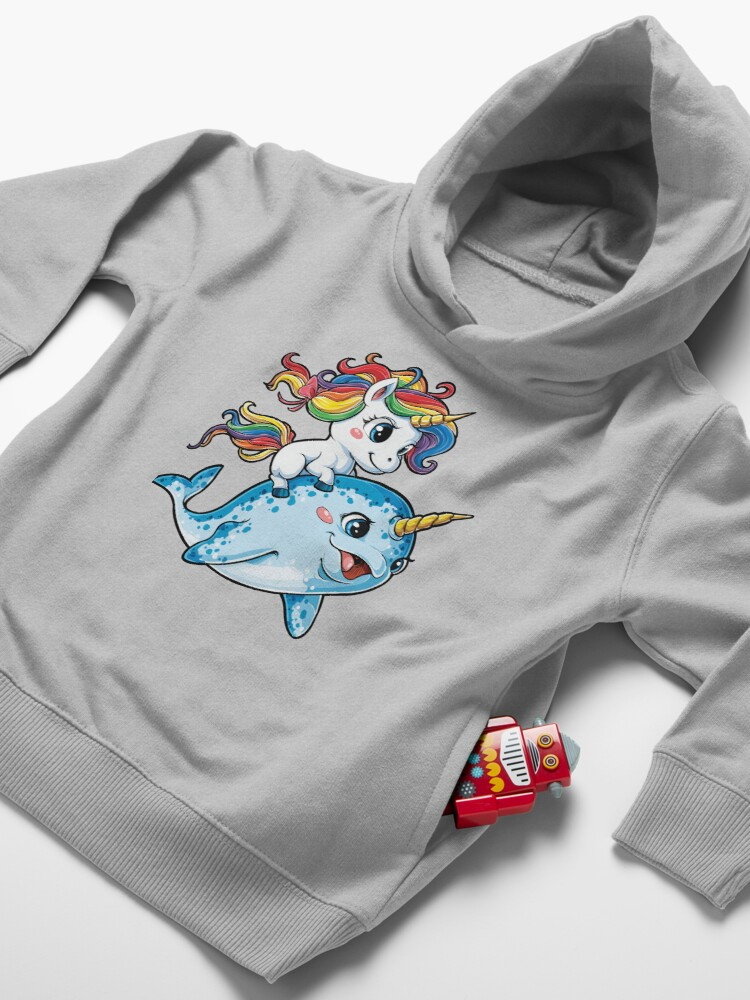 Alternate view of Unicorn Riding Narwhal T shirt Squad Girls Kids Rainbow Unicorns Gifts Party Toddler Pullover Hoodie