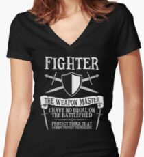 FIGHTER, THE WEAPON MASTER - Dungeons & Dragons (Black) Women's Fitted V-Neck T-Shirt