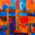 Abstract painting with complimentary colors by Steve Johnson