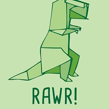 """Rawr - T-rex - Dinosaur for """"Happy Birthday"""" Card by yayandrea"""