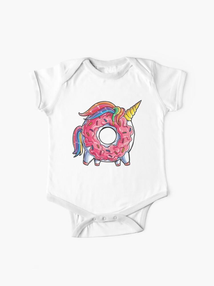 Short-Sleeve Shirt Cute Donut and Unicorn Baby Baby Girl Kids
