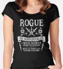 ROGUE, THE SHROUDED BLADE - Dungeons & Dragons (White Text) Women's Fitted Scoop T-Shirt