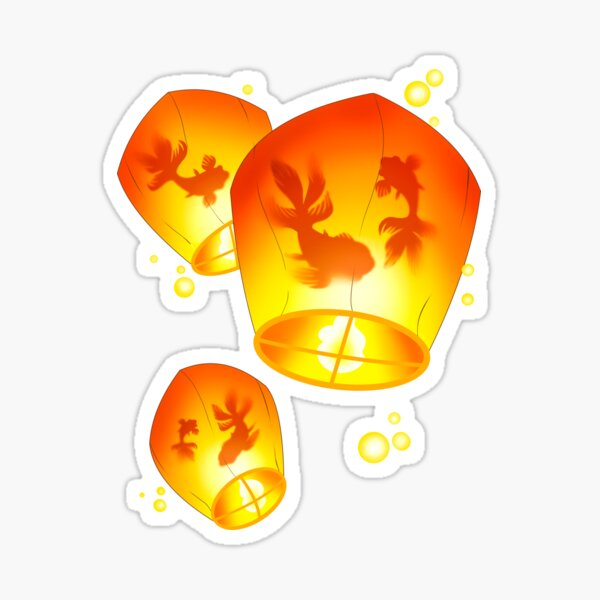 Surreal Goldfish Paper Lantern Festival Sticker