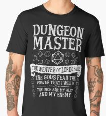 Dungeon Master, The Weaver of Lore & Fate - Dungeons & Dragons (White Text) Men's Premium T-Shirt
