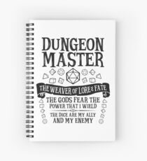Dungeon Master, The Weaver of Lore & Fate - Dungeons & Dragons (Black Text) Spiral Notebook